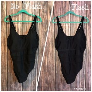 Ava & Viv Plus Black One Piece Mesh Suit Sz 24